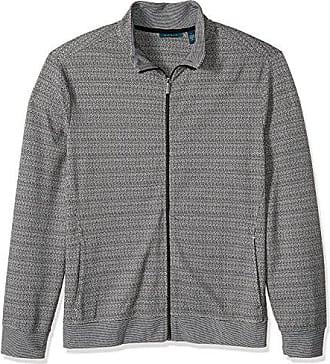 Perry Ellis Mens Big and Tall Jacquard Pattern Full Zip Knit Jacket, Black, 2XL