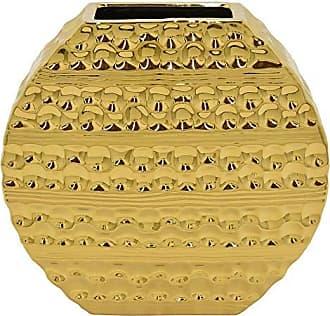 Three Hands 10 Ceramic Vase in Gold