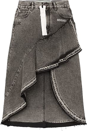 bab41262171 Off-white asymmetric contrast zip denim skirt - Grey