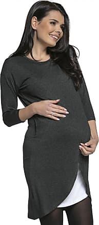 Happy Mama Womens Maternity Nursing Wrap Dress 3/4 Sleeves. Double Layer. 033p (Graphite Melange, UK 16, 2XL)