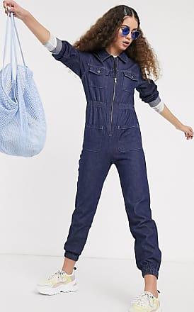 Monki Day - Tuta jumpsuit di jeans a maniche lunghe lavaggio scuro-Blu