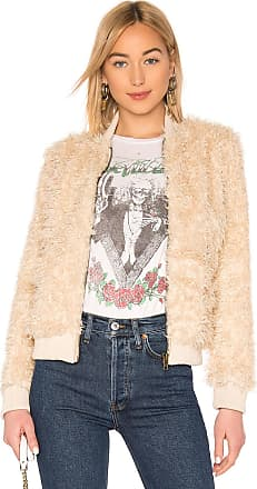 Chaser Faux Fur Lamby Bomber Jacket in Cream