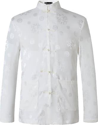 Jeansian Mens Chinese Traditional Tang Kung Fu Tai Chi Long Sleeve Shirt Tops L860 White 3XL
