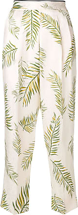 Forte_Forte feather print trousers - White