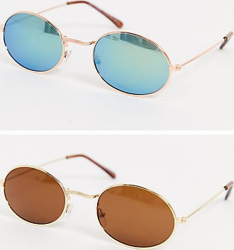7X SVNX Metal Frame Oval 2 Pack Sunglasses-Multi