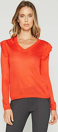 Alloy Apparel Samantha V Neck Ruffle Sweater Orange Red Size XL/T
