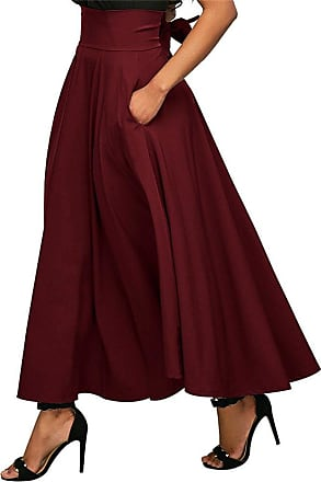 TOMWELL Womens Summer Casual Basic Solid Versatile Stretchy Flared Casual High Waist Maxi Skirt with Pockets Wine Red UK 16