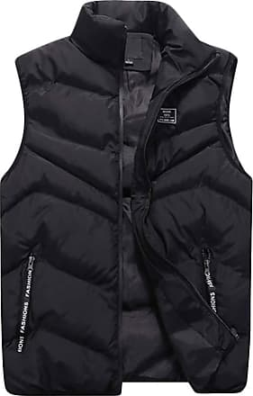 ZongSen Mens Fall and Winter Lightweight Down Puffer Gilet Quilted Jacket Body Warmer Sleeveless Coat Black 3XL