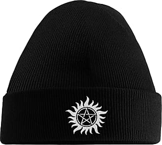 HippoWarehouse Pentagram Embroidered Beanie Hat Black
