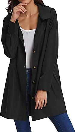 NPRADLA 2020 Womens Solid Rain Jacket Outdoor Hoodie Waterproof Long Coat Overcoat Windproof (2XL/UK 18, ZZZ-Black)