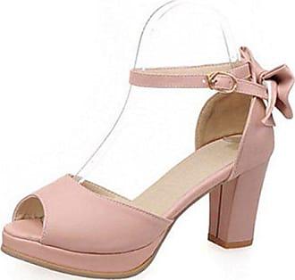 1c93e39524a374 Aisun Damen Süß Kunstleder Schleife Peep Toe Plateau Blockabsatz  Knöchelriemchen Sandale Pink 35 EU