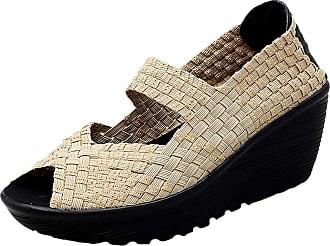 Insun Womens Woven Slip On Wedge Shoes Khaki UK 4.5