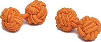 Jacob Alexander Pair of Solid Color Silk Knot Cufflinks - Bright Orange