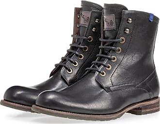 Floris Van Bommel Mit Lammfell gefütterter schwarzer Schnürstiefel, Boots, Lederstiefel, Handgefertigt