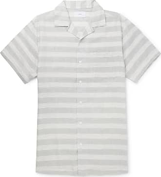 Onia Camp-collar Striped Linen And Cotton-blend Shirt - Gray