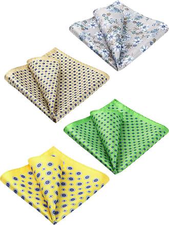 Hisdern Mens Silk Floral Pocket Square Wedding Party Handkerchief 4Pcs Wedding Party Gift