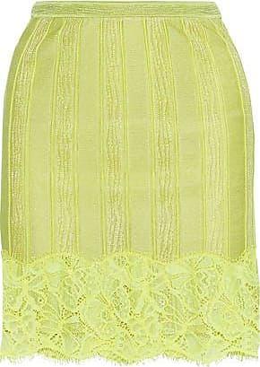Roberto Cavalli Roberto Cavalli Woman Corded Lace-appliquéd Stretch-knit Mini Skirt Lime Green Size 38