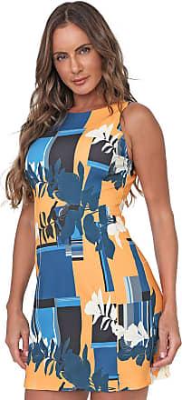 Morena Rosa Vestido Morena Rosa Curto Estampado Amarelo/Azul