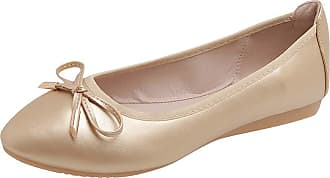 Daytwork Shoes Women Ballet Flats - Pumps Round Toe Bow Classic Prom Slip on Comfort Loafers Dress Boat Shoes Gold