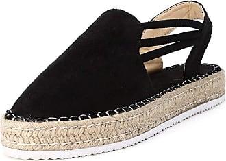 Yvelands Espadrilles Wedge Sandals Shoes Women Casual Comfy Platform Round Toe Backstrap Slingback Beach ShoesBlack Size 5 UK