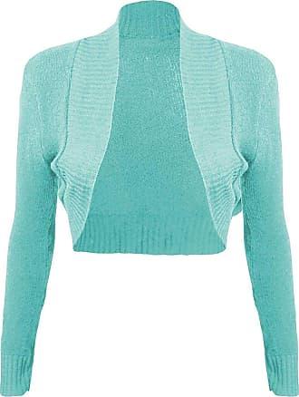 Momo & Ayat Fashions Ladies Girls Knitted Bolero Plain Ribbed Collar Shrug UK Size 8-14 (M/L (UK 12-14), Mint)