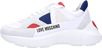 Love Moschino Moschino Love JA15306G Womens Faux Leather and Fabric Lace-up Sneakers White Size: 8.5 UK