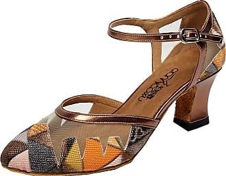 Find Nice Ladies Lovely Printed Professional Latin Salsa Practice Dance-Shoes Comfort Orange 1.5 UK