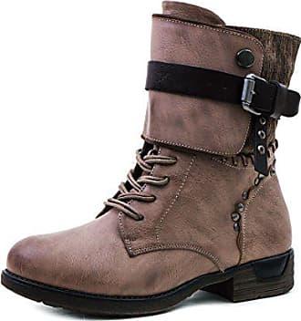 c40aaf6bd72bf5 Marimo Damen Nieten Stiefel Biker Boots Schnür Stiefeletten in Lederoptik  Khaki 37