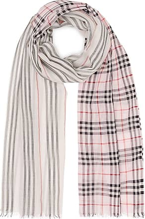 Burberry Icon Stripe and Vintage Check Wool Silk Scarf - Rosa