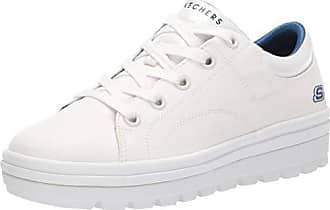 Skechers Womens Street Cleat. Canvas Contrast Stitch lace up Sneaker, White, 11 M US