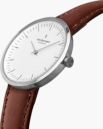 Nordgreen Infinity - Silver | Brown Leather - 32mm / Silver