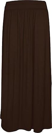 Momo & Ayat Fashions GirlzWalk Womens Ladies Celebs Fold Over Turn Up Pleated Waist Ladies Jersey Gypsy Long Maxi Skirt (Brown, XXXL 24-26)
