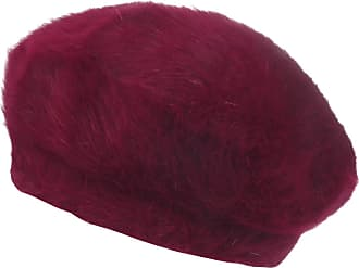 Ililily Solid Color Angora French Beret Furry Artist Flat Winter Hat, Wine Without Tab