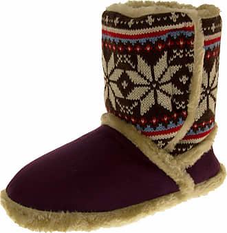 Footwear Studio Womens COOLERS Boot Slippers Warm Winter FAIR ISLE Fur Lined Slipper Booties Plum Purple Size 3-4 UK
