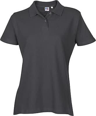 Russell Athletic Ladies Womens Polo Tshirt Top Shirt Plain Sports Casual Short Sleeve New Cotton Titanium