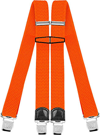 Decalen Mens Braces with Very Strong Clips Heavy Duty Suspenders One Size Fits All Wide Adjustable and Elastic X Style (Orange Neon)
