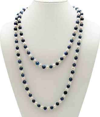 PalmBeach Jewelry Round Navy Blue and White Cultured Freshwater Pearl Endless Necklace 48