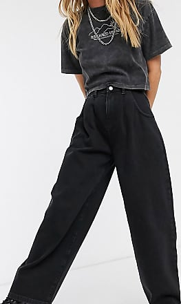 Reclaimed Vintage inspired The 97 high waist wide leg mom jean in washed black