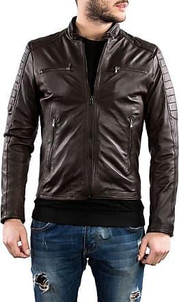 Leather Trend Italy U05 - Giacca Uomo in Vera Pelle colore Testa di Moro Invecchiato