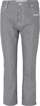 Off-white Cropped Striped High-rise Straight-leg Jeans - Blue