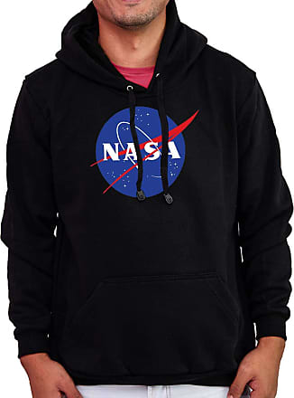 Atelier do Silk Agasalho Flanelado Capuz Unissex Blusa Frio NASA Aeronautics Cor:Preto;Tamanho:GG