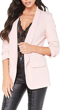 Islander Fashions Womens Frill Ruffle 3/4 Sleeve Duster Coat Ladies Plain Open Front Blazer Jacket Nude Medium/Large UK 12-14