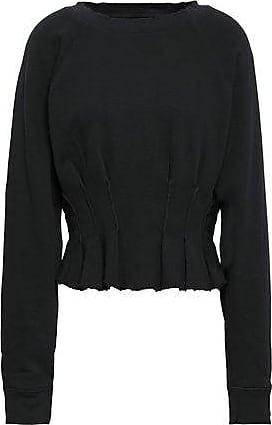 Current Elliott Current/elliott Woman Pintucked French Pima Cotton-terry Sweatshirt Black Size 3