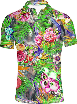 Hugs Idea Classic Mens Golf Sport Shirt Summer Short Sleeve Tropical Floral Leave Pattern T-Shirt Hawaiian Beach Tee