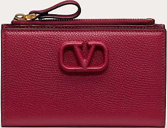 Valentino Garavani Valentino Garavani Vsling Grainy Calfskin Cardholder With Zipper Women Raspberry Pink Calfskin 100% OneSize