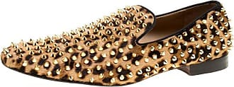 96fa665799e4 Christian Louboutin Beige Leopard Print Pony Hair Roller Boy Spiked Loafers  Size