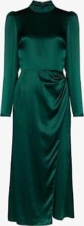 Reformation Womens Green Carmelina Silk Midi Dress