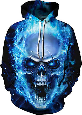 Ocean Plus Mens Hoodie Long Sleeve Pullover Wolf Tiger Hoody with Kangaroo Pocket (XXL/3XL (Chest: 126-146CM), Blue fire Skull)