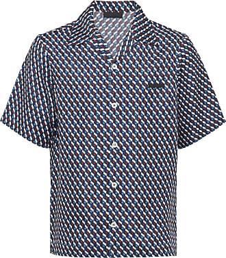 Prada Camisa com estampa e botões - Azul