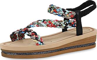 Scarpe Vita Women High-Heeled Sandals Wedge Sandals Glitter Rhinestone 190539 Black UK 6.5 EU 40